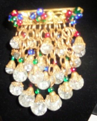 Vintage EARLY Miriam Haskell 1930-early 40's Dangle Glass Beads Brooch Pin