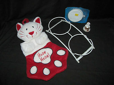 Plush Cat Paw Gift Holder, Bone China Bell, Cat Food Dish Caddy & Can Covers