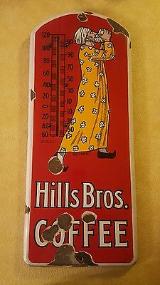 VINTAGE Hills Bros. COFFEE PORCELAIN THERMOMETER ADVERTISING SIGN