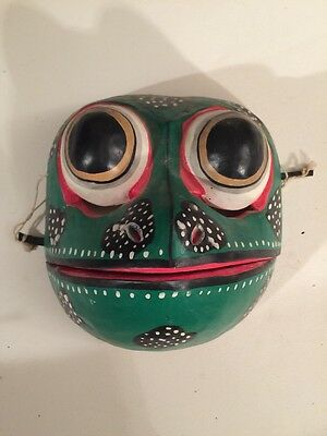 "Frog Mask Bali Jelita 6"" wood carving Movable Mouth"