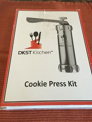 Cookie Press Kit - Stainless Steel Biscuit Press Set Includes 20 Discs & 4 Icing