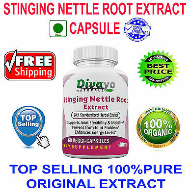 500 mg Capsules Stinging Nettle Root 20:1 Standardized Herbal Extract Free Ship