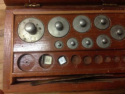 Vintage Brass Scale Weights in Original Box - Nice