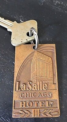 Vintage Lasalle Hotel Chicago Key Fob Chain And Key Free Shipping