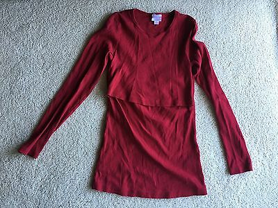 Boob Mother Nursing Maternity Red Long Sleeve Top Shirt Size M Medium