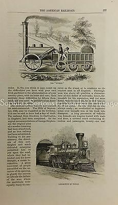1874 AMERICAN RAILROAD TRAINS HISTORY ERIE PACIFIC Vintage Magazine Article