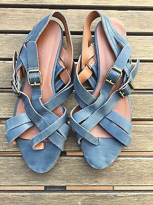 Sandals Zomp 38 7.5 Blue Leather