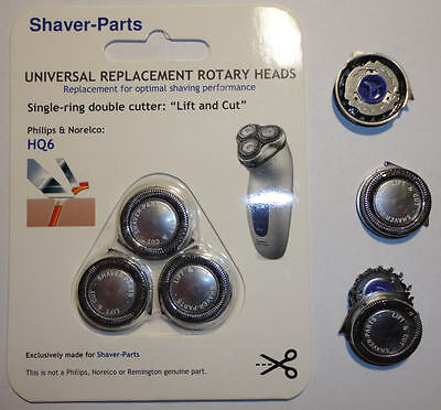 "HQ6 ""LIFT & CUT"" alternative shaving heads; fits in Philips, NORELCO shavers"
