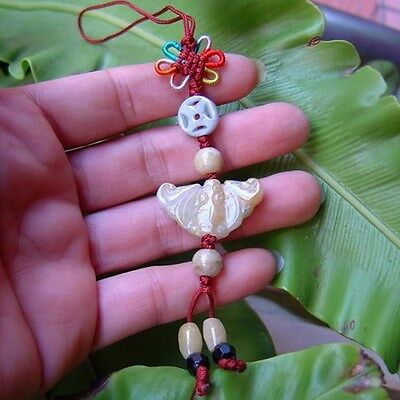 Vintage Natural Jadeite Butterfly Carving With Chinese Knot Handcrafted Charm