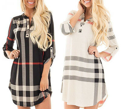 Women Casual Long Sleeve Loose Cotton Evening Party Cocktail Short Mini Dress