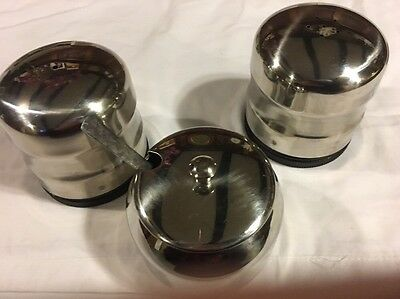 Stainless Steel Jumbo Salt And Pepper Shakers With Mustard Pot And Spoon