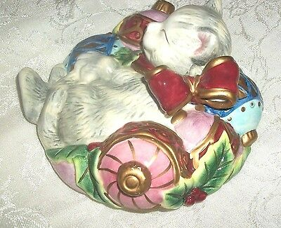 "Fitz And Floyd Yuletide Kristmas Kitty Lidded Box  5""h"