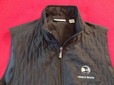The Pebble Beach Collection Women's Full Zip Quilted Vest by Ashworth Black  M
