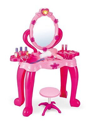 Vanity Light & Music Childrens Dressing Up Hair Mirror Make Up Stool Table Toy