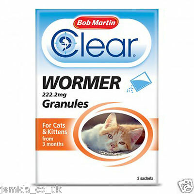 Bob Martin Clear Wormer Granules for Cats and Kittens Worming Treatment 3 months