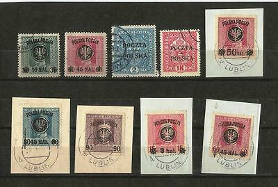 POLAND AUSTRIAN MILITARY STAMPS 1919, beautiful lot, used.