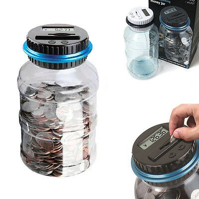 Electronic LCD Counting Coin Saving Money Boxes Showing Jar Piggy Bank