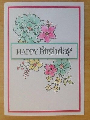 Handmade happy birthday card: water colour floral in pink & Aqua.