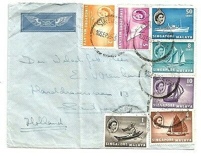 SINGAPORE  1955 early Ships cover to Holland