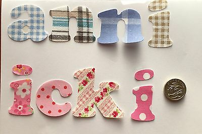 Any 5 Die Cut Iron On Fabric Letters/ Numbers Boys Girls Personalised Names ,5cm