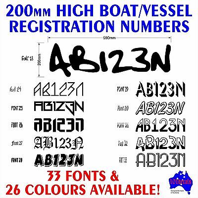 2x200mm Boat,Yacht,Baycruiser REGISTRATION numbers letters.Marine grade decals