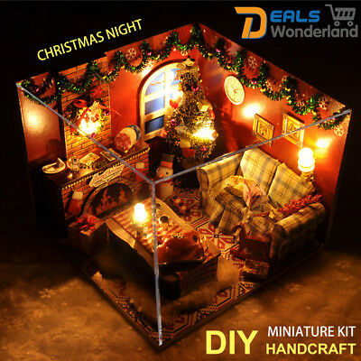 Kids  DIY Handcraft Miniature Project Lights Christmas Dolls Gift House Kit