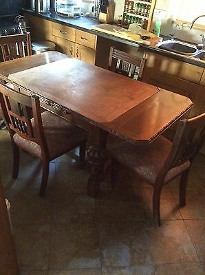 antique oak Table And Four Chairs