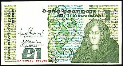 Ireland Bank Note £1 (One) Pound Sterling 1988 Old Paper Money Used Bill