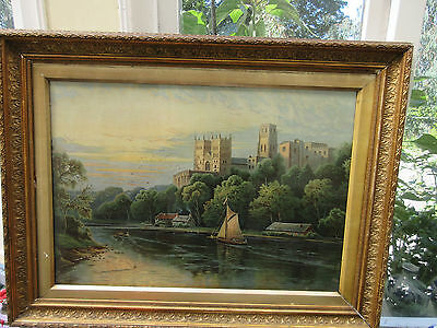 very large victorian print of a rural scene in gilded frame  86-67cm VGC
