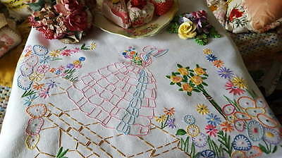 Magnificent Vintage Embroidered Crinoline Lady Cottage Flowers Tablecloth