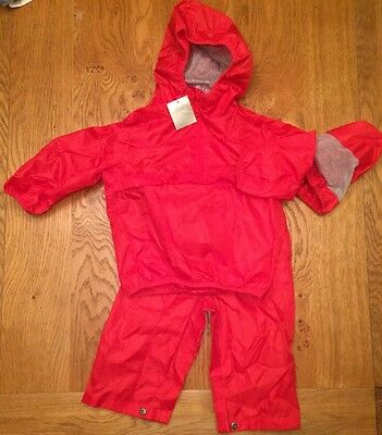 Next Girls Or Boys Red Waterproof Trousers & Coat In A Bag -3 Yrs ☔️ - BNWT