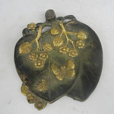 Chinese Bronze Gilt Handwork Carved plum blossom & butterfly Brush Washers