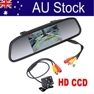 "4.3"" Rear View Kit Mirror Monitor+ Waterproof Reverse Car Backup HD CCD Camera"