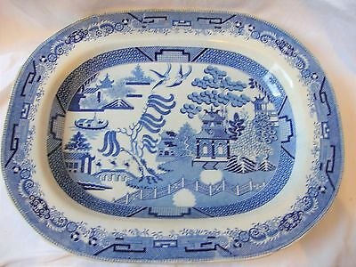 Blue & White Transferware Traditional Willow Pattern LARGE Platter c1850
