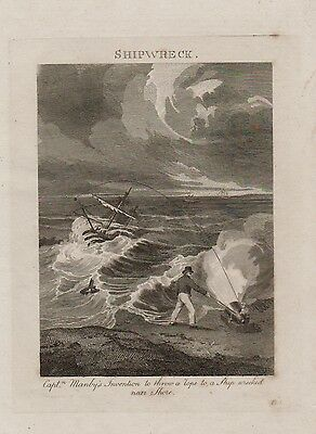 """c1805 engraving """"Shipwreck - Capt Manby's Invention"""" by T Wallis"""