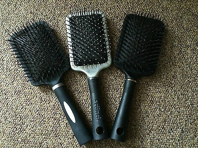 3 x Padded Cushion Paddle Hair Brushes Bundle - *In Good Clean Used Condition*