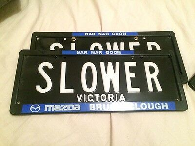 "victorian custom plates number plate ""slower"" rare all letters vic"