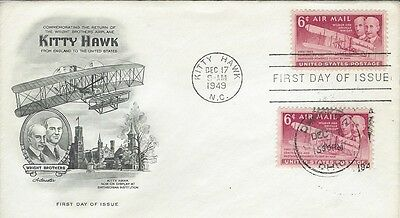 1949 Kitty Hawk Airmail FDC with extra Dayton, OH cancel