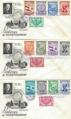 1955 Rotary International - Nicaragua - 50th anniversary 1905-1955 set of 3 FDCs