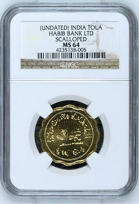 India Undated Gold Tola NGC MS-64 Habib Bank LTD Scalloped