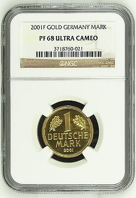 Germany 2001F Gorgeous Gold Coin     Last German Mark (NGC PF 68) Proof in GOLD