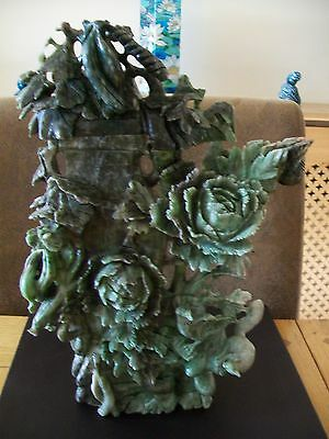 Large Chinese Green Stone (Soapstone?) Carving - 31cm