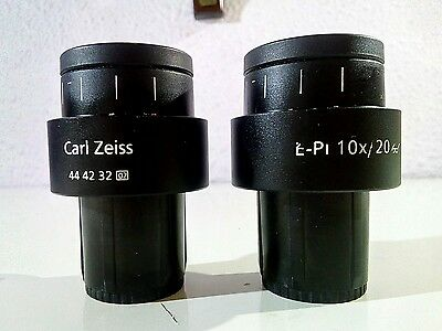 Microscope ZEISS pair eyepieces E-PL 10x diopter adjust 30mm interface mikroskop