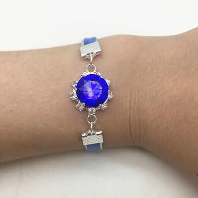 NEW Jewelry Fashion DIY Blue Round Crystal Leather Cute Infinity Bracelet Silver