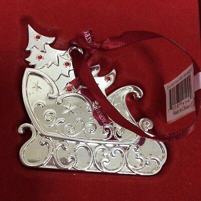 Waterford 2014 Christmas Tree Ornament - Tree in Sleigh Silver Plated