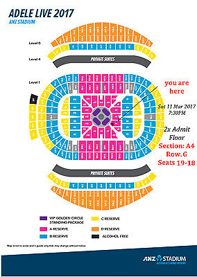 ADELE Sydney 2 tickets *together*  AWESOME SEATS