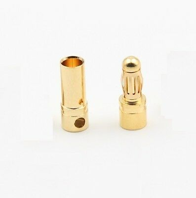 40PCS 20Pairs 3.5mm Gold Plated Male&Female Bullet Banana Plug Connector  NEW