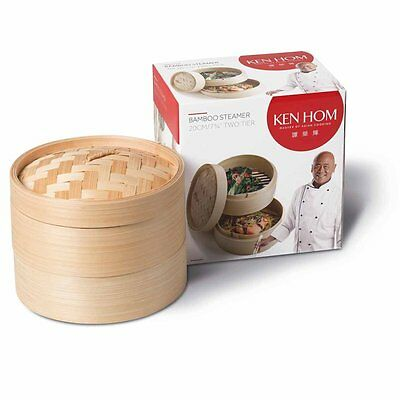 Ken Hom Bamboo Steamer 20 cm Two Tier Cooker Beige