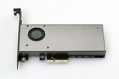 PCIe x4 M.2 NVMe or SATA SSD Adapter Card DUAL Voltage Input with FAN