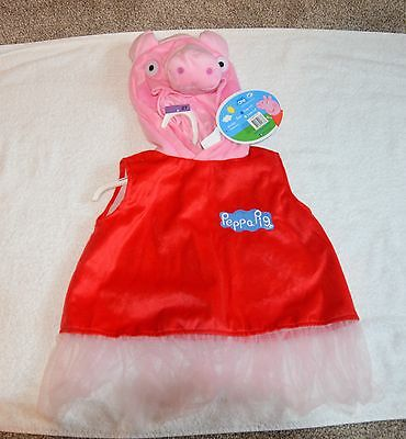 Peppa Pig Toddler Girl Size 2T-3T Hooded Dress Costume - NWT